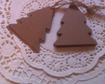 20 Handmade Vintage Style Christmas Tree Gift Tags 5.7cm x 6.5 cm