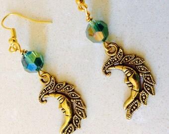Gold Man in the Moon Shiny Dangle Earrings