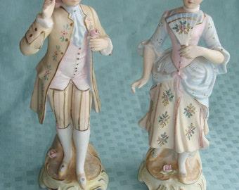 Pair of Antique Bisque Figues