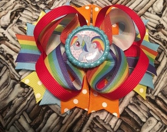 Rainbow dash my little pony hair bow 5.5