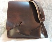 Hand made Leather Minimalist bag with natural edge on flap