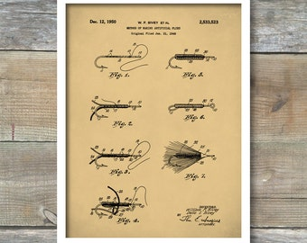 Patent Prints, Fly Fishing Patent Poster, Lake House Wall Art, Fisherman Gift, Cabin Decor, Patent Print, Outdoorsman, Patent Poster, P406
