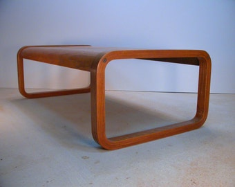 Molded Plywood Oak Coffee Table, Bent Oak Plywood Coffee Table