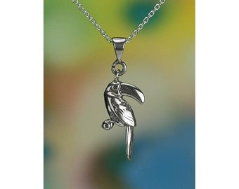 """Sterling Silver Toucan Necklace with 16-24"""" Chain or Pendant Only .925"""