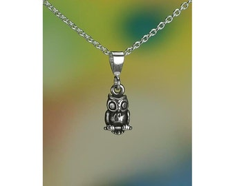 "Sterling Silver Miniature Owl Necklace 16-24"" Chain or Pendant Only"