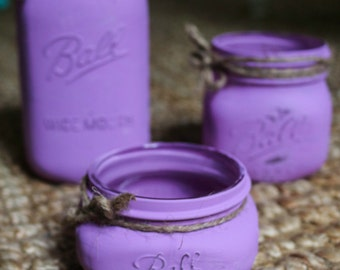 Chalk Painted Mason Jars ~Set of 3~Electric Purple