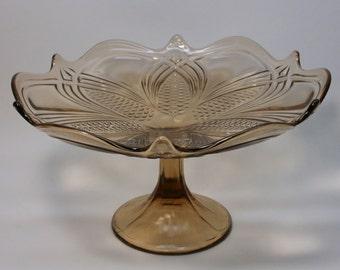 Vintage Fruit Bowl Dish Vase Glass  ,1960s , Soviet Union , USSR
