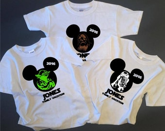 StarWars Disney Family Shirts, Star Wars , Disney World Family Shirts: Darth Vader, Yoda, Boba Fett, Storm Trooper, R2D2-