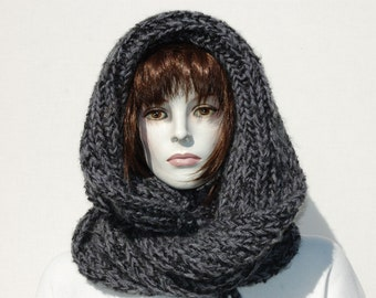 Woman Hooded Scarf, Infinity Scarf, Winter Thick Scarf, Grey Women Scarves, Hoodie Scarves, Oversized Scarf, Chunky Scarves, Winter Scarves