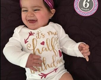 Baby girl clothing Half Birthday  (bodysuit only)