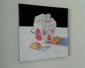 """Fortune Cookies and Rice Painting 12"""" x 12"""" original acrylic food still life art on stretched canvas"""