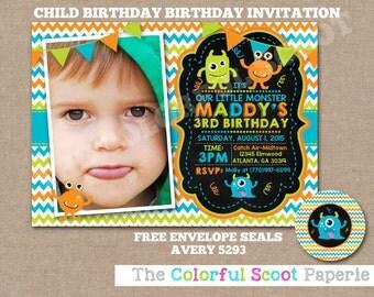 Monster Birthday Invitation, Monster Birthday Party, Chalkboard, Monster Invite, Monster Invitation, Monster  (#694)