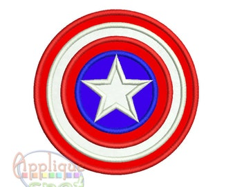 Captain America Logo Shield <8 sizes included - 2x2 3x3 4x4 5x7 6x10 7x7 8x8 9x9) Applique Design Embroidery Machine -Instant Download File
