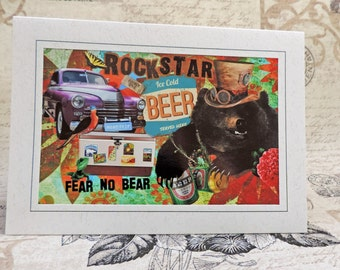 Bear Greeting Card, Collage Art Greeting Card, Bear and Beer, Retro, Steampunk