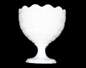 Vintage Napco Milk Glass Compote - Napco 1185 - Quilted Cut Pattern - Milk Glass - Compote - White Glass - Napco Pedestal Dish - Candy Dish
