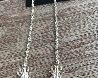 Spiders Silver Long Chain Earrings Sparkling Shoulder Dusters