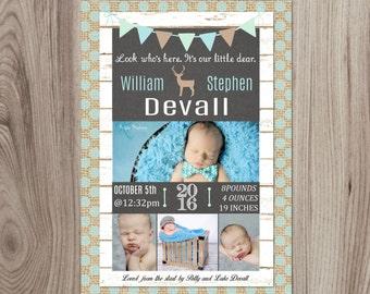 Little Dear Newborn Boy Announcement DIY Printable