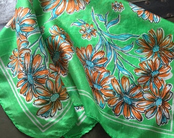 vintage 1940s scarf // 40s 50s green floral silk scarf