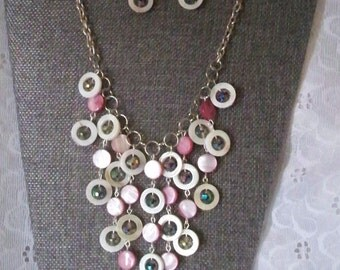 Beautiful Handmade MOP and Glass Bead Bib Necklace with Earrings