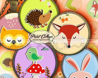 Forest Animals - Digital Printable Sheets Cabochon images 1.5inch 1inch 18,14mm round images Printable images Instant download C212