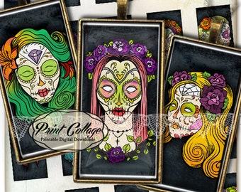 Domino Pendants Printable images  Digital Collage Sheet 1 x 2 inch Jewelry Backgrounds Clip Art Sugar Skulls c29