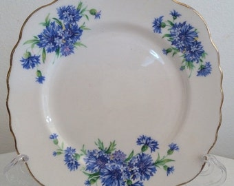 SALE 20% OFF Vintage Colclough Cornflower Blue Bachelor Buttons side plate-modern look vintage from 1940