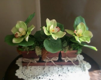 Faux Orchids Centerpiece with different types of natural moss. Mossy centerpiece, Home decor, Floral arrangement, Faux Orchids