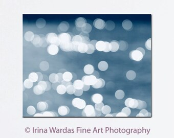 Abstract canvas art, abstract photography, white navy blue wall art canvas, beach abstract light bokeh, large abstract canvas art oversized