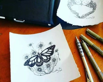"Free shipping.Drawn to order; butterfly illustration, original 4x4"" on 6x6"" acid free paper, unframed(each illustration will differ slightly"