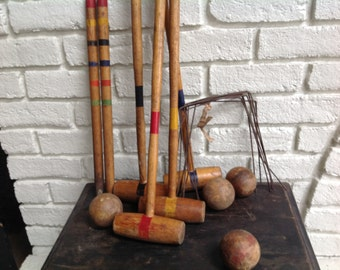 Vintage wood wooden croquet set mallet balls wickets stakes