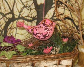Bird Ornament primitive  country  Purple Floral Hand sewn