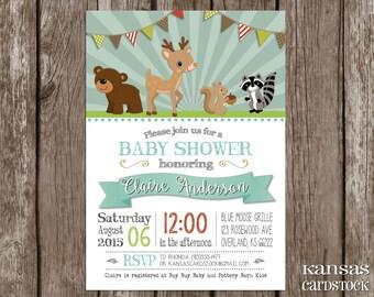 Woodland Baby Shower Invitation Forest Friends Invitation deer racoon bear