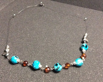 Blue & Brown Beaded Wire Necklace 19 inches