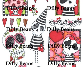 Girl Skellies color digital collage sheet Dilly Beans by Megan