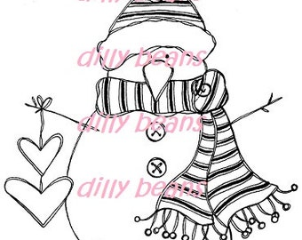 Heart Snowman Digi stamp #523 Dilly Beans by Megan
