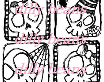 Skull Squares Digi Stamp #470 Dilly Beans by Megan