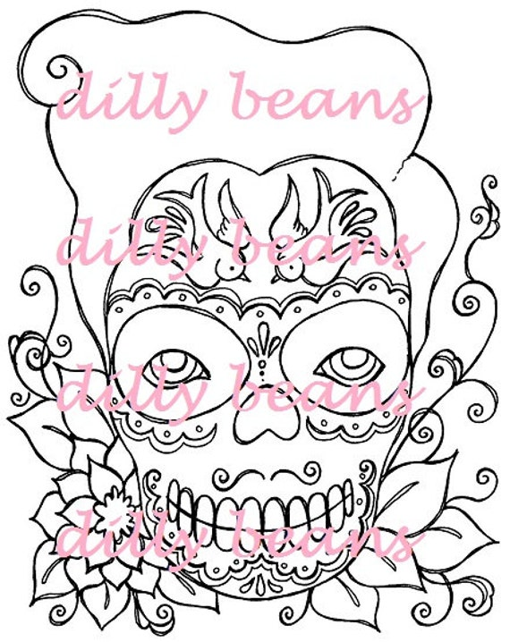 Sugar Skull & Flowers Digi stamps #284 Dilly Beans by ...