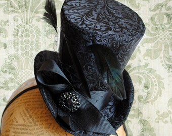 Gothic Mini Top Hat,Black Brocade Evening Mini Top Hat,Victorian Party Mini Top Hat-Custom-Made to Order