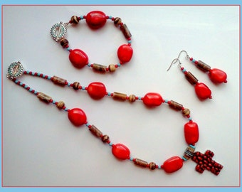 3 pc Handmade Red Agate Jewelry,  Red Agate Jewelry, Red Agate Jewelry Set, Hand made Necklace Set