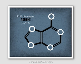 Nerdy Adenine Print, Modern Science Art, Biochemistry Gifts, Nerdy Office Decor
