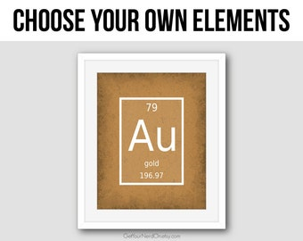 Periodic Table - Choose Your Own Element - Wall Art Print - Available as 8x10, 11x14 or 16x20