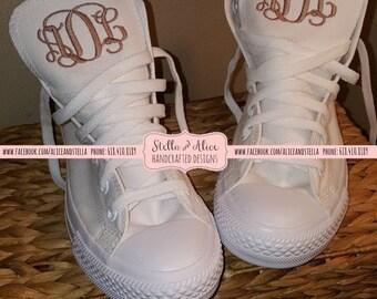 ec8b43c0bb0f monogrammed embroidered wedding monochrome converse hi top low top wedding  shoes wedding converse