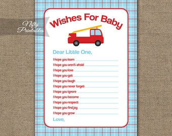 Wishes For Baby Game - Boys Red Blue Baby Shower Game - Printable Blue Red Boy Baby Wishes Cards - FIR