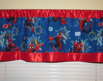 Spiderman satin edge curtains/cotton valance/red satin edge