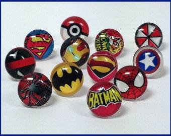 Superhero Push Pins, Drawing Pins, Decorative Push Pins, Thumbtacks, Cork Board Pins, Wedding Favours, Superhero Drawing Pins, Comic Book