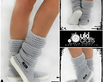 Crochet Boots Crochet Knitted Shoes adult Outdoor Boots for the Street Folk Tribal Boho s hippie Made to Order pattern crochet cuffs