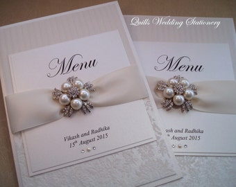 Luxury Book Style Wedding Table Menu with Pearl & Diamanté Brooch.
