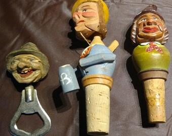 Vintage Hand-Carved Wooden Barware