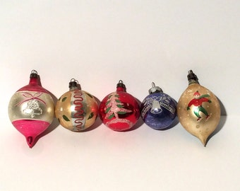 SET A/ Vintage Set of 5 1940s Handblown Glass Ornaments with Handmade Illustrations