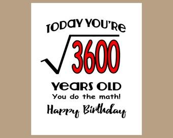 60th Birthday Card - Geek Birthday Card - 1957 Birthday - Nerd Birthday - Milestone Birthday - Math Birthday Card - Equation Birthday Card